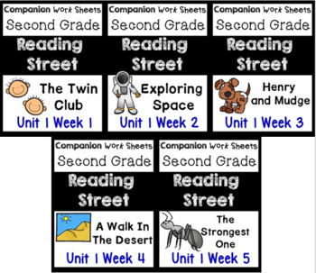 BUNDLE Unit 1 Weeks 1-5 Reading Street Centers/Worksheets Second Grade
