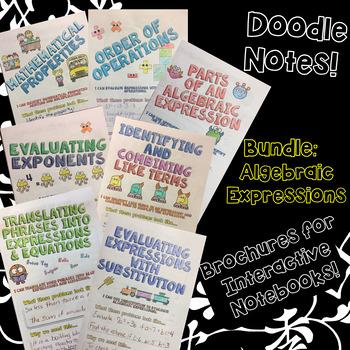 BUNDLE Unit: Algebraic Expressions - Math Doodle Note Brochures for INBs