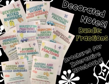 BUNDLE Unit: Fractions - Math Decorated Note Brochures for Interactive Notebooks