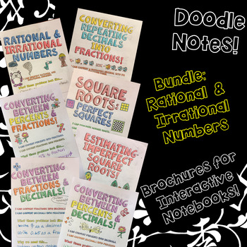 BUNDLE Unit: Rational & Irrational Numbers - Decorated Notes Brochures for INBs