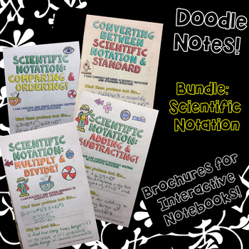 BUNDLE Unit: Scientific Notation - Math Decorated Notes Brochures for INBs