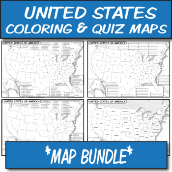 MAP BUNDLE *U.S. States* Labeled, Unlabeled Word Blank, Quiz, Coloring (4)