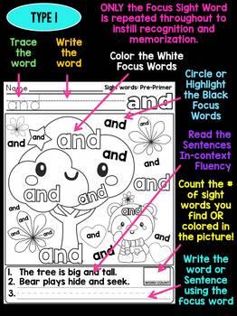 BUNDLE : Unni's Sight Words - Pre Primer - Autumn Fall