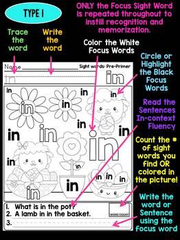 BUNDLE : Unni's Sight Words - Pre Primer - Spring