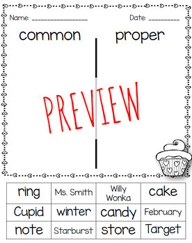 BUNDLE- Valentine's Day Common and Proper Noun Activities