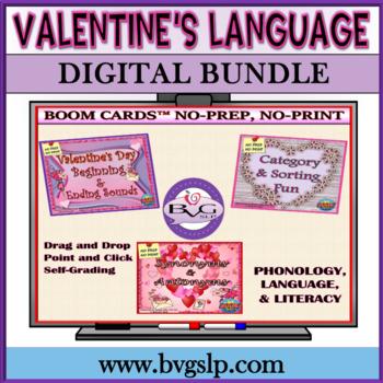 BUNDLE Valentine's Language Unit PLUS Boom Cards Digital - Teletherapy