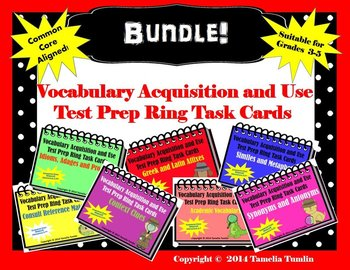 BUNDLE!! Vocabulary Acquisition and Use Task Cards ALL SEVEN Common Core Skills