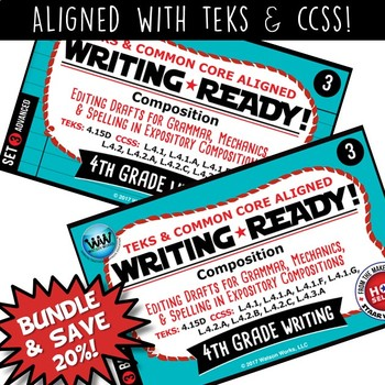 BUNDLE ~ WRITING READY 4th Grade Task Cards – Editing Drafts {TEKS-aligned}
