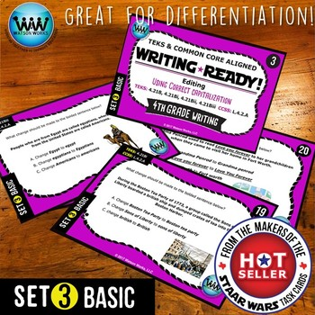 BUNDLE ~ WRITING READY 4th Grade Task Cards – Using Correct Capitalization