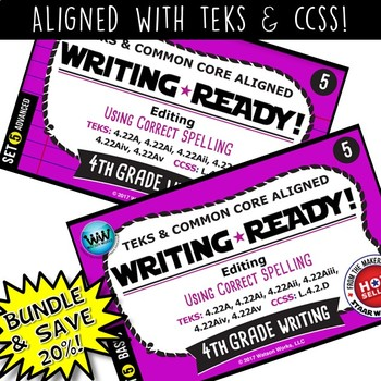 BUNDLE ~ WRITING READY 4th Grade Task Cards – Using Correct Spelling