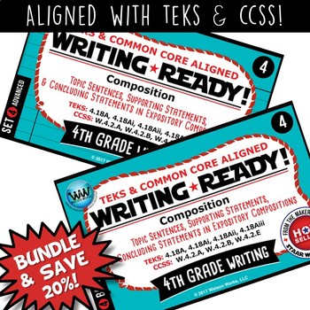 BUNDLE ~ WRITING READY 4th Grade: Topic, Supporting, & Con