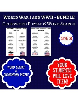 BUNDLE - WWI & WWII Crossword Puzzle and Word Search