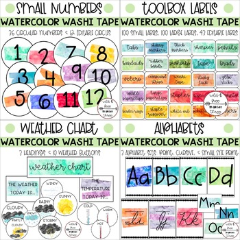 BUNDLE: Watercolor Washi Tape Labels, Banners, Numbers & Editables (552 Pieces)