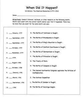 "BUNDLE: ""When Did It Happen?"" American Revolution Matching Worksheets(1763-1781)"