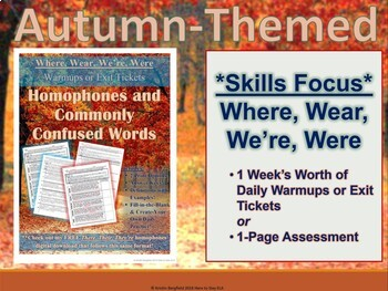 BUNDLE: Where, Wear, We're, Were Autumn-Themed Interactive Practice & Worksheets