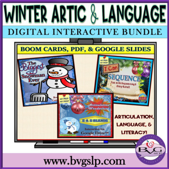 BUNDLE Winter Language Articulation and Literacy Digital - Teletherapy