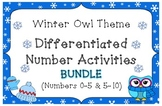 BUNDLE! Winter Owl Theme Differentiated Number Activities (Numbers 0-10)