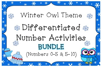 BUNDLE! Winter Owl Theme Differentiated Number Activities
