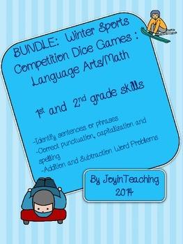 BUNDLE:  Winter Sports Competition Dice Games: Math/Language Arts- 1st/2nd grade