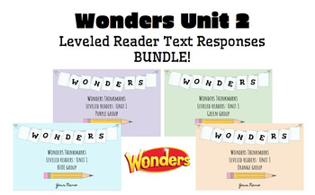 BUNDLE! McGraw-Hill Wonders Leveled Readers DIGITAL Text Responses-UNIT2-GRADE 5