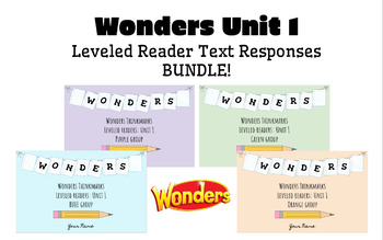 BUNDLE! Wonders Leveled Readers DIGITAL Text Responses - UNIT 1 - GRADE 5