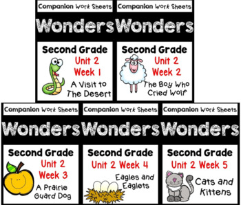 BUNDLE Wonders. Unit 2 Weeks 1-5 Worksheets/Centers. Second Grade