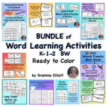 BUNDLE – Word Learning Activities Pack – K 1 2 3 - BW Only