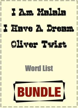 BUNDLE - Word List (I am Malala; I Have A Dream; Oliver Twist)