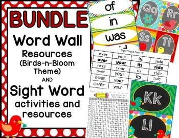 BUNDLE:  Word Wall and Sight Word Resources (Birds-N-Blooms Theme)