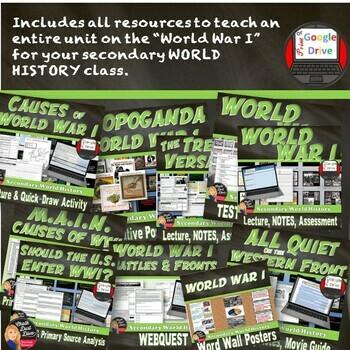 World War I BUNDLE Unit  (World History)Common-Core Aligned!