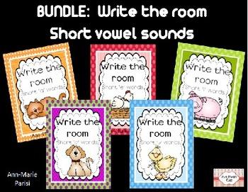 BUNDLE:  Write the Room, Short Vowels a/e/i/o/u