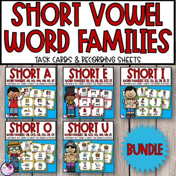 CVC Short Vowel Word Families Write the Room **BUNDLE**