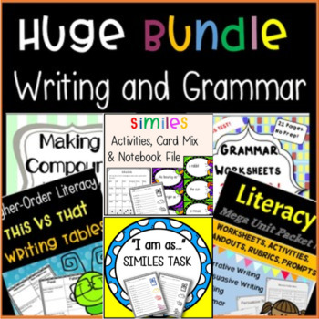 BUNDLE: Writing and Grammar Products (Year Long Activities/Lessons)