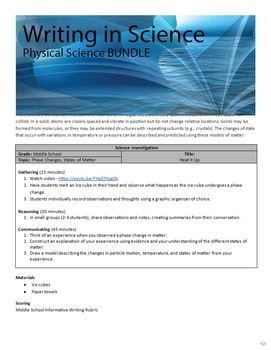 BUNDLE - Writing in Physical Science