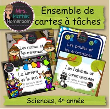 BUNDLE cartes à tâches sciences, 4e année (Science Task Ca