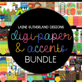 BUNDLE - digital paper and accent/clip art sets