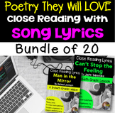 Poetry They Will LOVE- Close Reading Using Song Lyrics- BUNDLE of 20