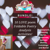 BUNDLE of 10 LOVE poem foldable analysis activities!