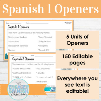 BUNDLE of 130 Spanish 1 Class Openers: Warm ups for Expresate 1 Chapters 1- 5