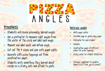 BUNDLE of 2 Pizza Math Craftivities (FRACTIONS & ANGLES)