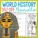 BUNDLE of 27 World History Mini Projects, Research Brochur