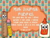 BUNDLE of 3 Math Journal Rubrics!