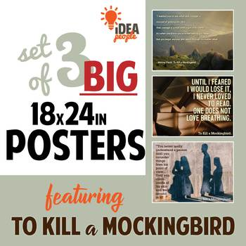 BUNDLE: 3 To Kill a Mockingbird quote POSTERS 18x24. Courage, Empathy, Read!