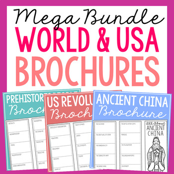 BUNDLE of 48 World and American History Research Brochure Projects, FULL YEAR