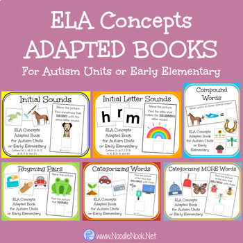 BUNDLE of 6 ELA Concepts Adapted Books for Autism Units or Early Elementary