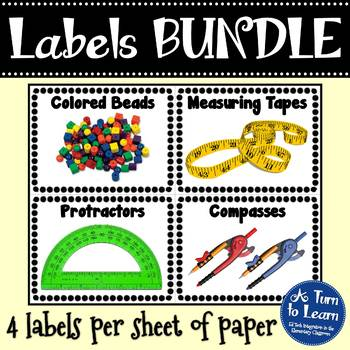 BUNDLE of Classroom Labels: Math Manipulatives and Classroom Supplies