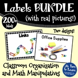 BUNDLE of Classroom Labels: Math Manipulatives and Classro