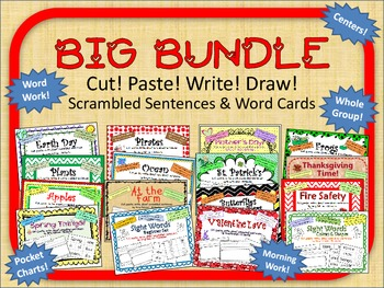 "BUNDLE of ""Cut, Paste, Write, Draw! Scrambled Sentences"" printables"