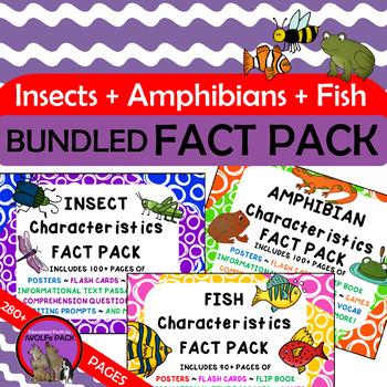 FISH INSECTS AMPHIBIANS Characteristics FACT PACKS Bundled