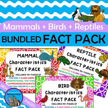 MAMMALS BIRDS REPTILES Characteristics FACT PACKS Bundled